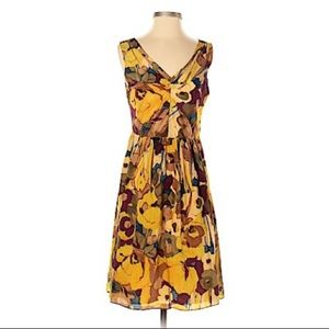 Banana Republic Silk Dress Gold Floral size 12